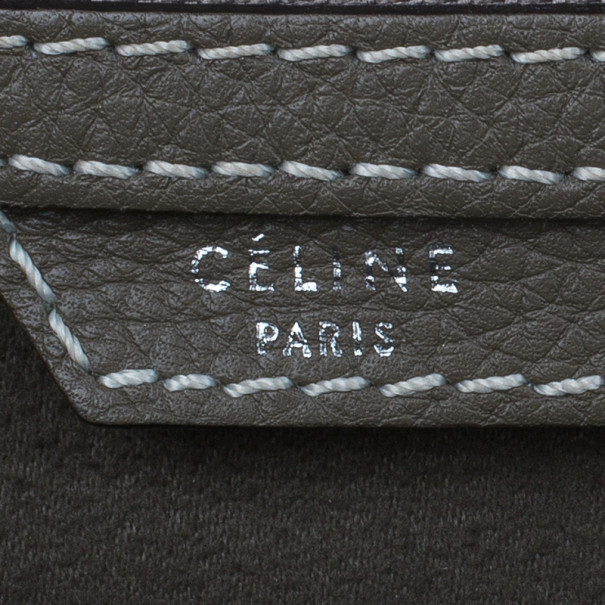 Celine Elephant Grey Leather Mini Luggage Tote