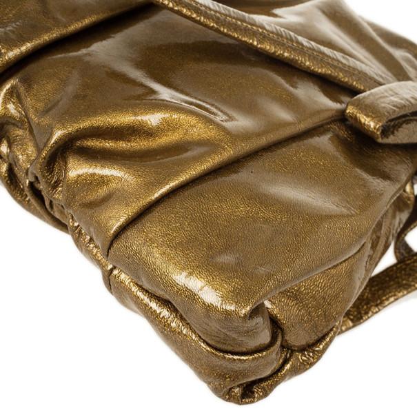 Gucci Gold Metallic Patent 'Hysteria' Clutch