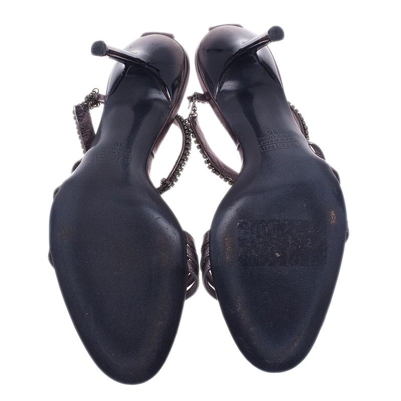 Giuseppe Zanotti Metallic Leather Ankle Strap Sandals Size 36