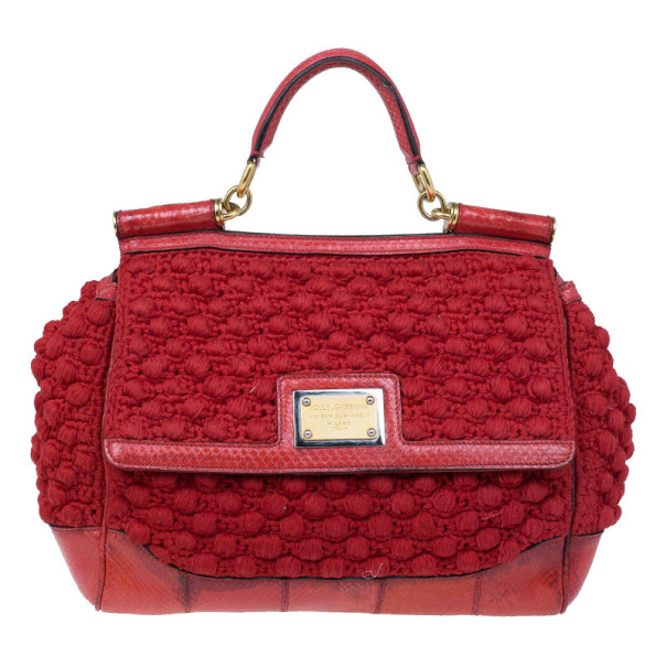 Dolce and Gabbana Red Miss Sicily Classic Crochet Python Trim Bag