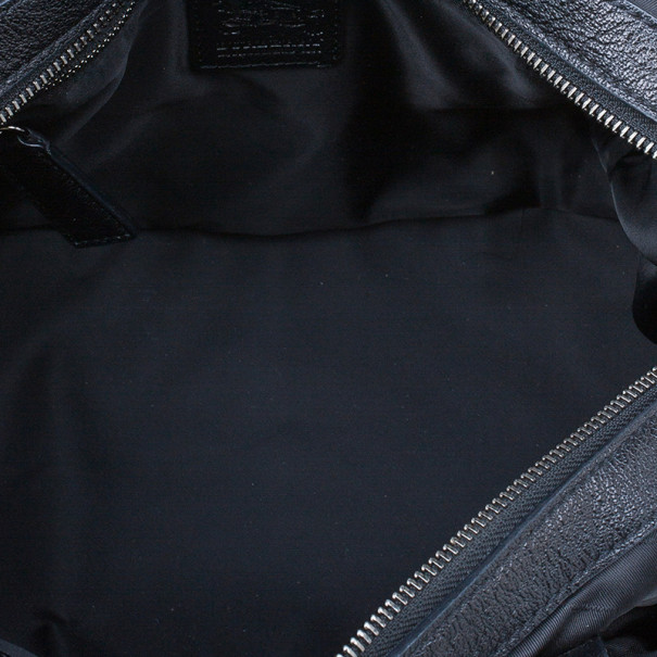 Burberry Black Nylon Tonal Check Bowling Bag