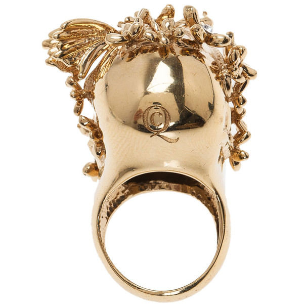 Alexander McQueen Gold-Tone Butterfly and Flower Skull Ring Size 51