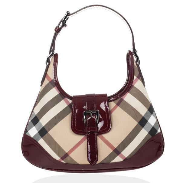 Burberry Nova Check Mini Brooke Hobo Handbag Lc