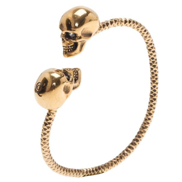 Alexander McQueen Gold Tone Crystal Twin Skull Bangle
