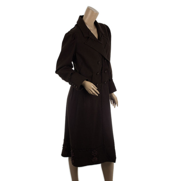 Christian Dior Brown Wool Trench Coat L