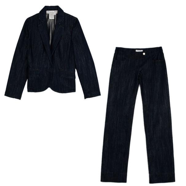 Christian Dior Denim Trouser Suit L