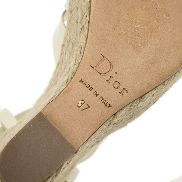 Christian Dior White Patent CD2 T Strap Espadrilles Wedges Size 37