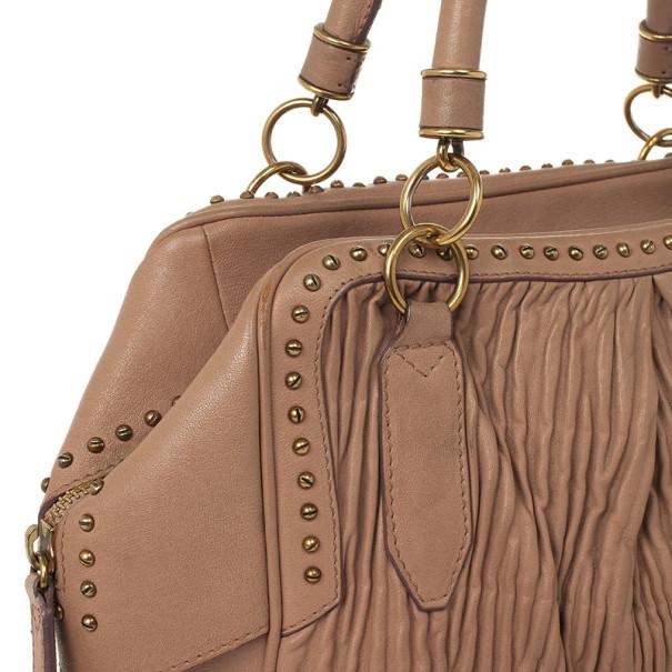 Burberry Beige Studded Plissé-leather Tote
