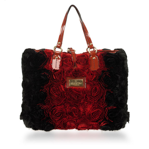 Valentino Red and Black Medium Rosier Tote