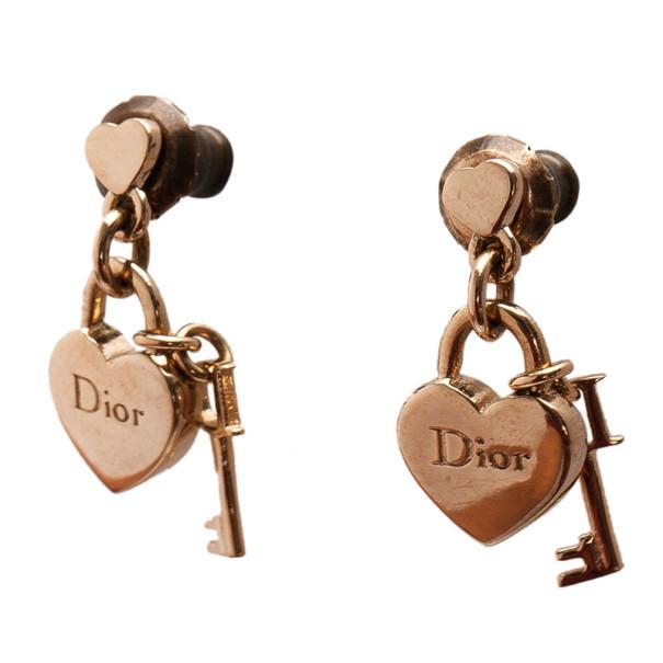 Dior Heart & Key Charm Earrings