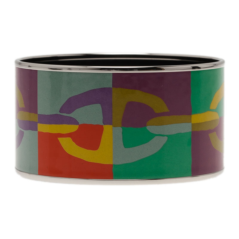 Hermes Extra Wide Printed Multi Color Silver Plated Bangle Bracelet