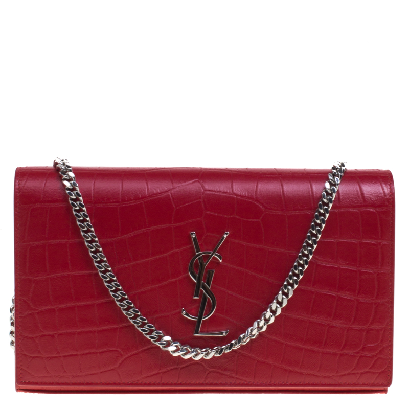 Saint Laurent Paris Red Croc Embossed Leather Wallet on Chain