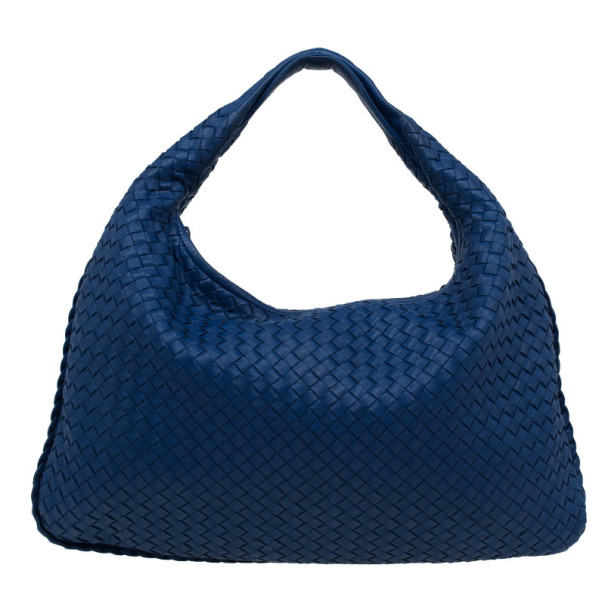 Bottega Veneta Atlantic Blue Nappa Leather Intrecciato Hobo