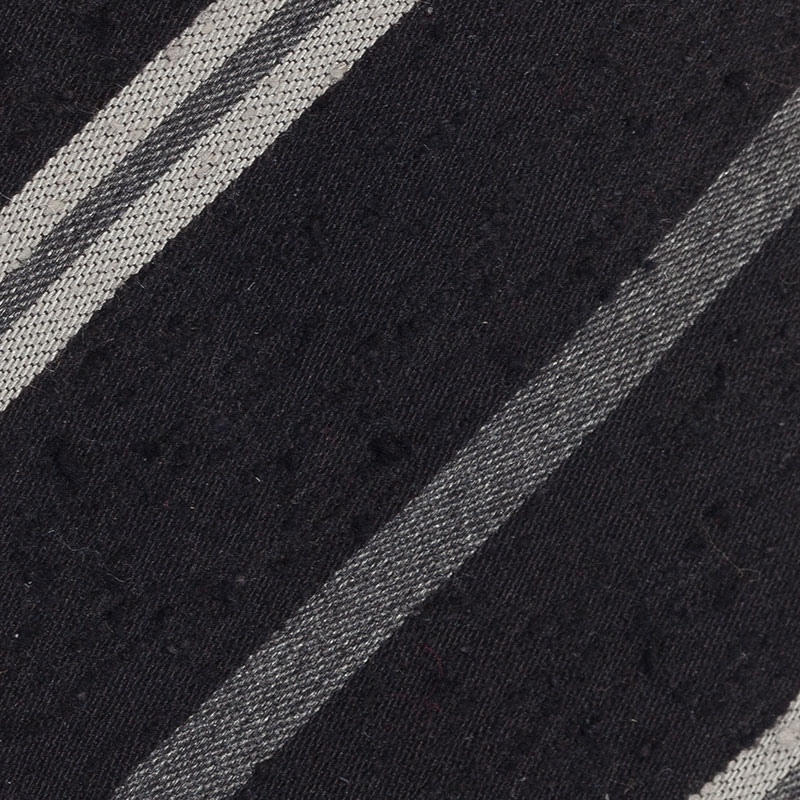Burberry Black and Grey Striped Silk Tie