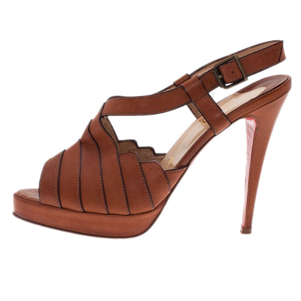 Christian Louboutin Brown Leather City Girl Platform Sandals Size 39.5