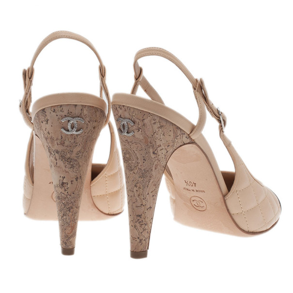 Chanel Beige Quilted Leather Cap Toe Slingback Sandals Size 40.5