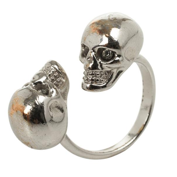 Alexander McQueen Twin Skull Ring Size 53