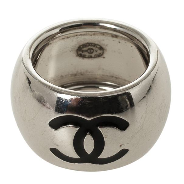 Chanel CC Black Heart Silver Tone Ring Size 52.5