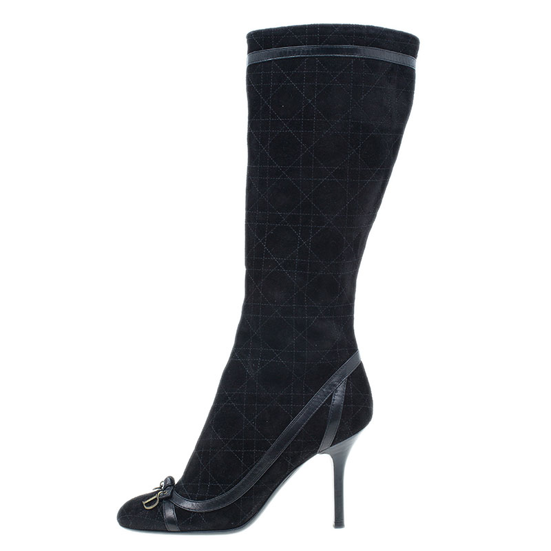 Dior Black Suede Cannage Knee Boots Size 37