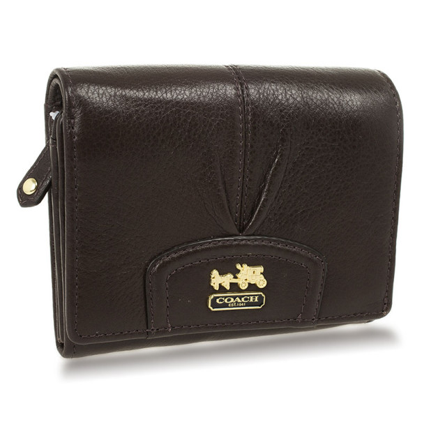 Coach Brown Ashley Leather Compact Clutch Wallet