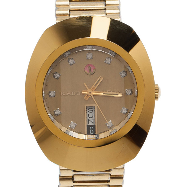 Rado Gold Stainless Steel DiaStar Unisex Wristwatch 35MM