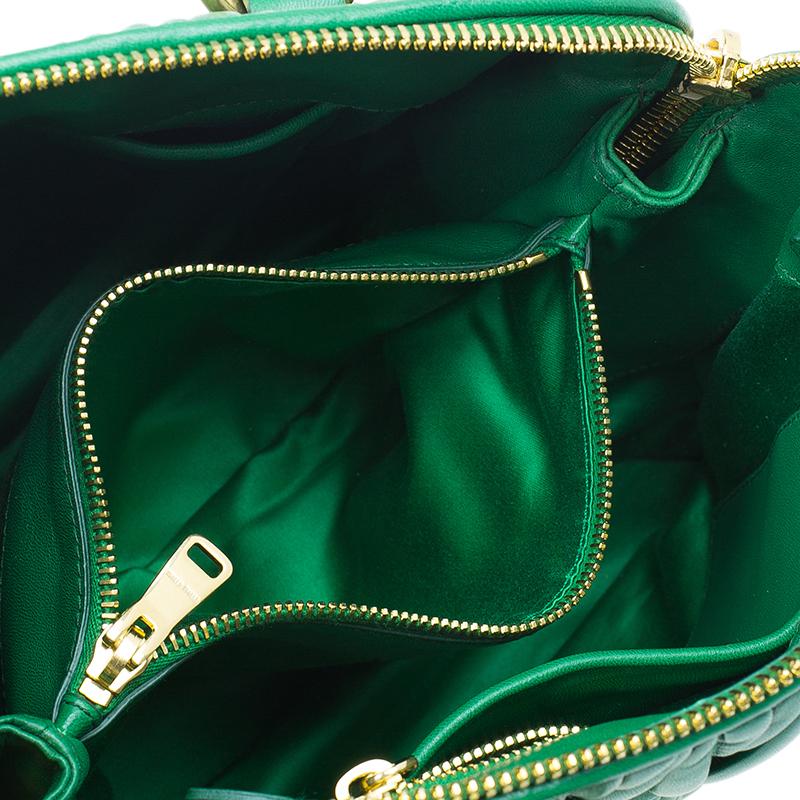 Miu Miu Green Matelasse Leather Small Bauletto Top Handle Bag