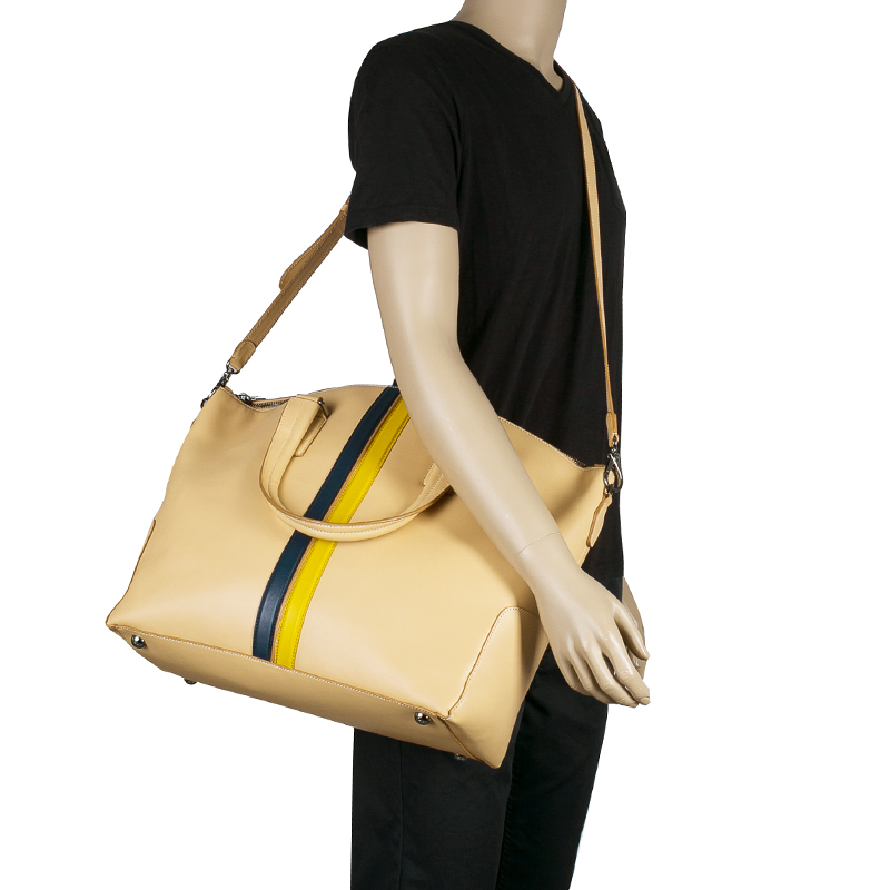 Tod's Nude Leather Double Striped Travel Bag