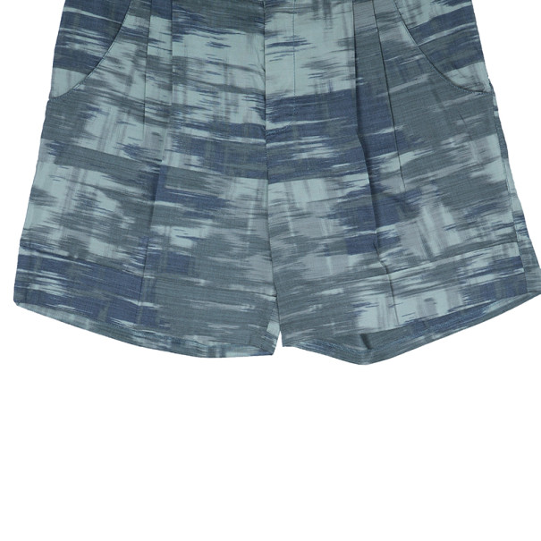 Missoni Green Abstract Print Ramie Shorts M