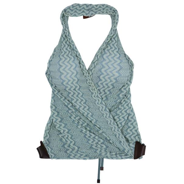 Missoni Green Knit Halter Wrap Top S