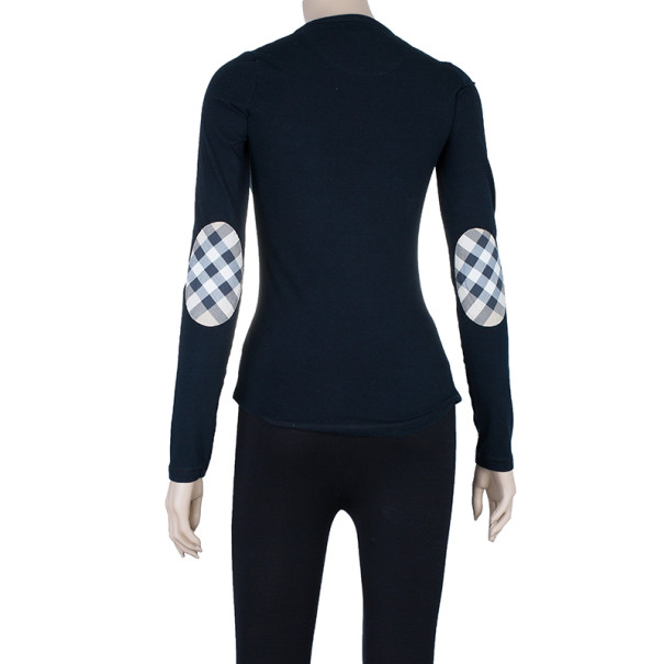 Burberry Long Sleeve Black T-Shirt with Novacheck Sleeve Patch XS