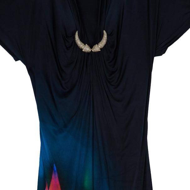 Roberto Cavalli Black Print Dress L