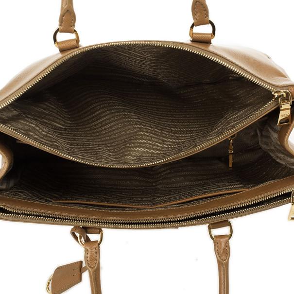 Prada Tan Saffiano Lux Double-zip Tote Bag