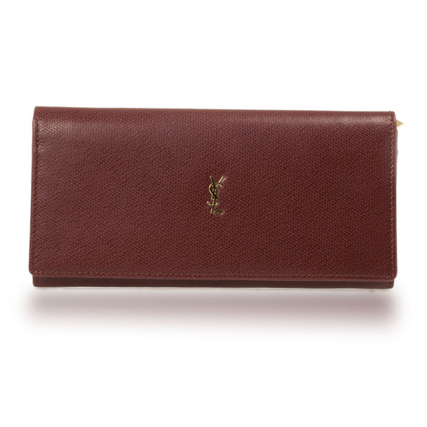 Yves Saint Laurent Red Leather Classic Large Wallet