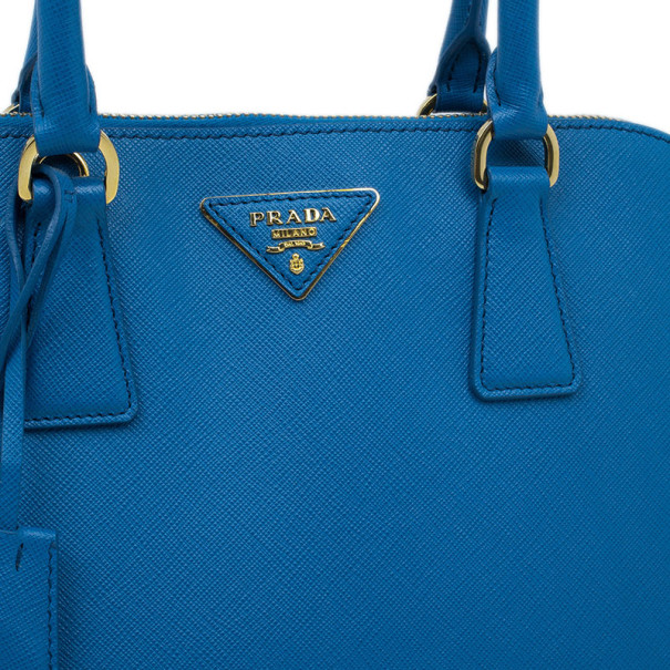 Prada Blue Saffiano Leather Small Shell Top Handle Bag