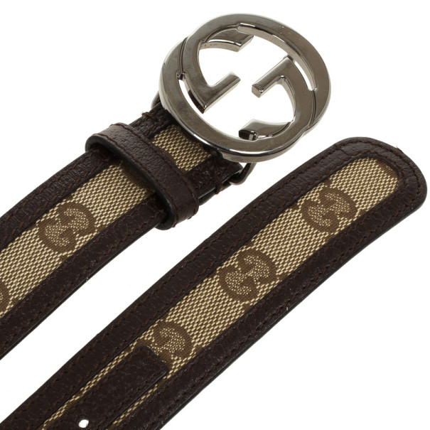 Gucci Guccissima Canvas & Leather GG Buckle Belt 83 CM