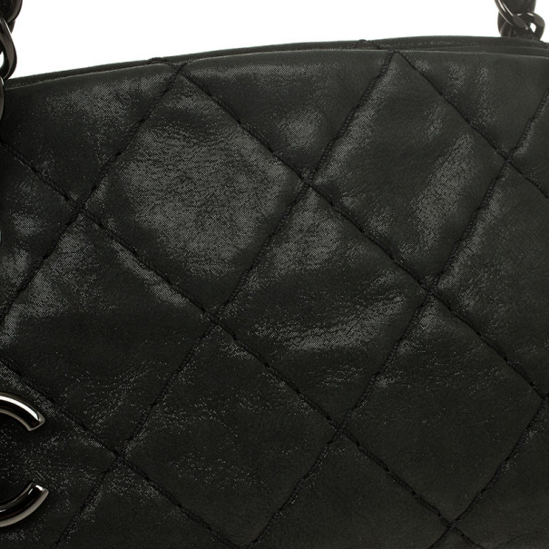 Chanel Black Calfskin Leather Just Mademoiselle Medium Bowler Bag
