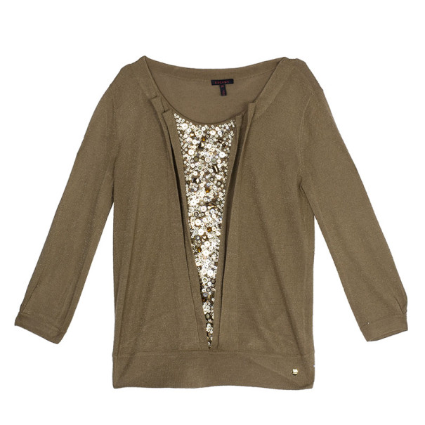 Escada Brown Sequin Top S