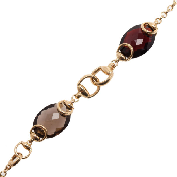 Gucci Red Garnet and Smokey Quartz Candy Horsebit Chain Necklace