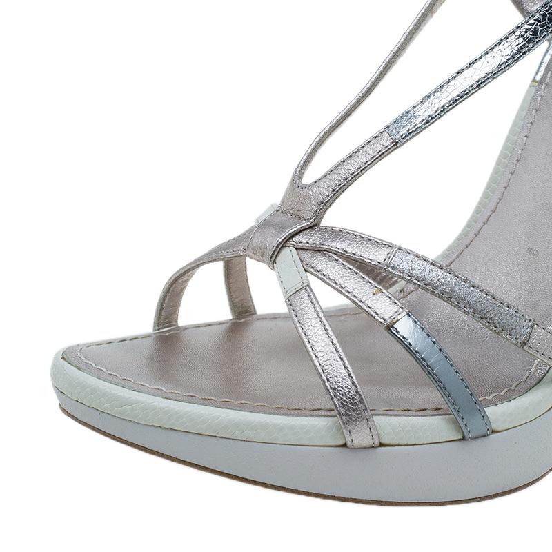 Louis Vuitton Metallic Leather Feerique Morganne Wedge Sandals Size 37