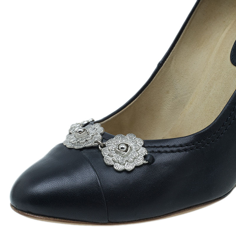 Chanel Black Leather Flower Embellished Wedge Pumps Size 40
