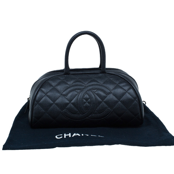 Chanel Black CC Quilted Caviar Small Bowler Bag