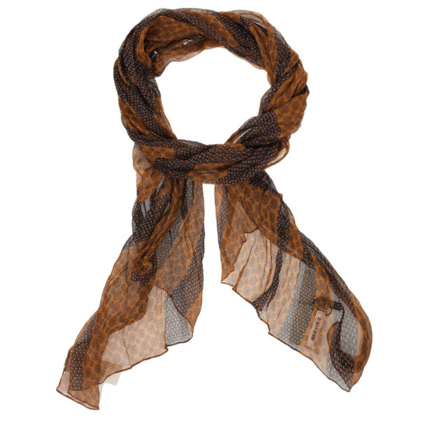 Burberry Cravate Check Orange and Brown Scarf