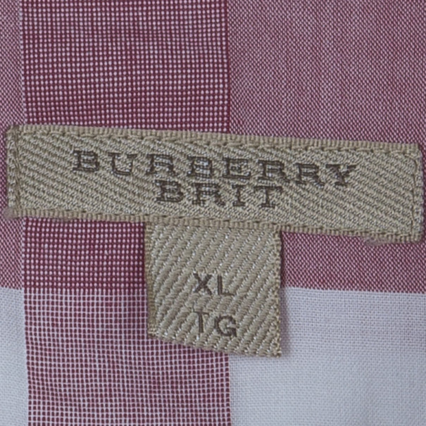 Burberry Brit Check Cotton Coral Pink Tunic Shirt XL
