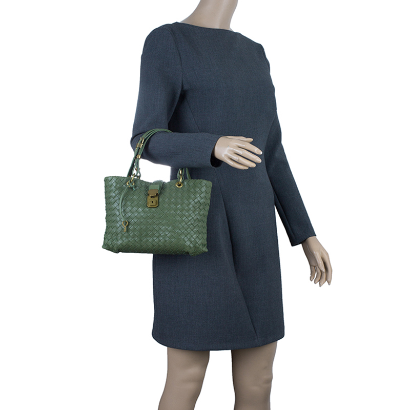 Bottega Veneta Olive Green Leather Woven Small Capri Tote Bag