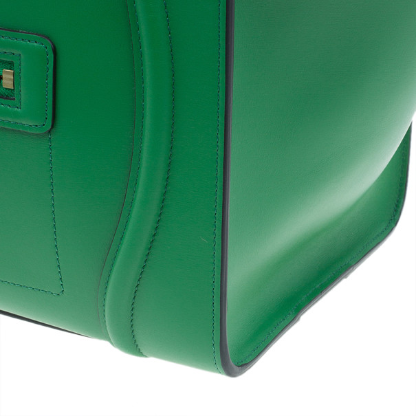 Celine Green Smooth Calfskin Mini Luggage Tote