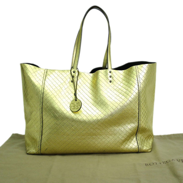 Bottega Veneta Gold Intrecciomirage Tote