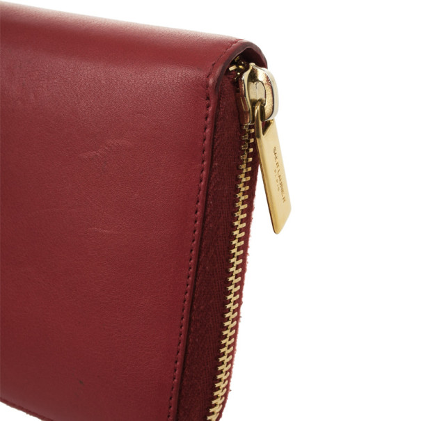 Saint Laurent Lipstick Red Leather Classic Y Zip Around Wallet