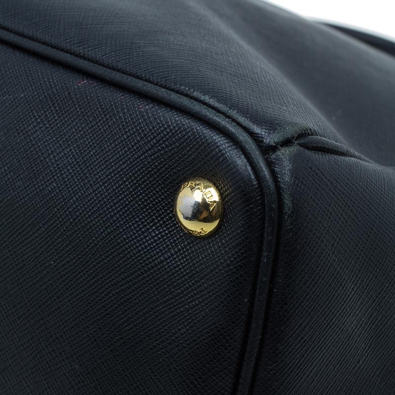 Prada Black Saffiano Lux Leather Double Zip Tote Bag