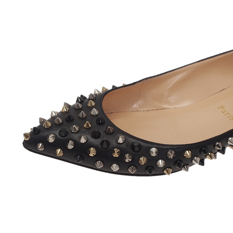 Christian Louboutin Black Leather Pigalle Spike Ballet Flats Size 39