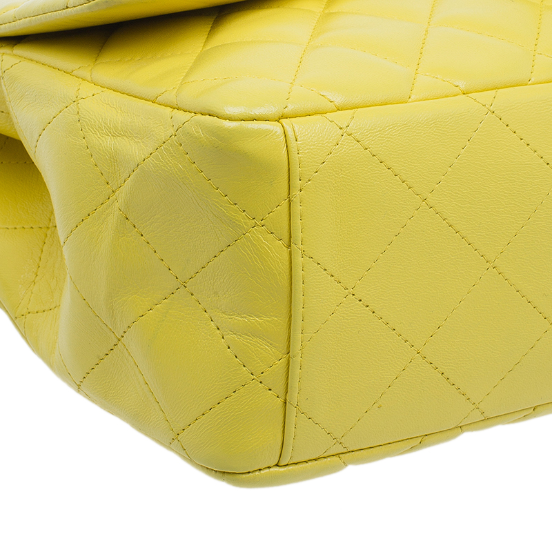 Chanel Yellow Quilted Lambskin Leather Classic Maxi Single Flap Bag